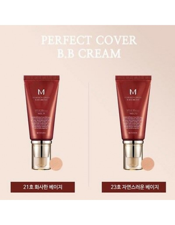 Missha, Тональный ВВ крем для лица M Perfect Cover BB Cream SPF42/PA+++ 50ml (No.21/Light Beige), (No.23/Natural Beige)